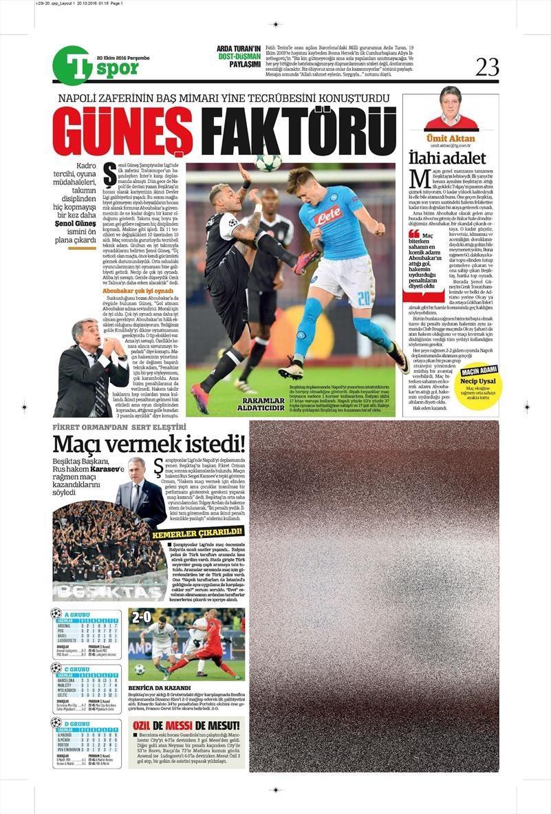 20 Ekim 016   Gazetelerin Beşiktaş Sayfaları 29
