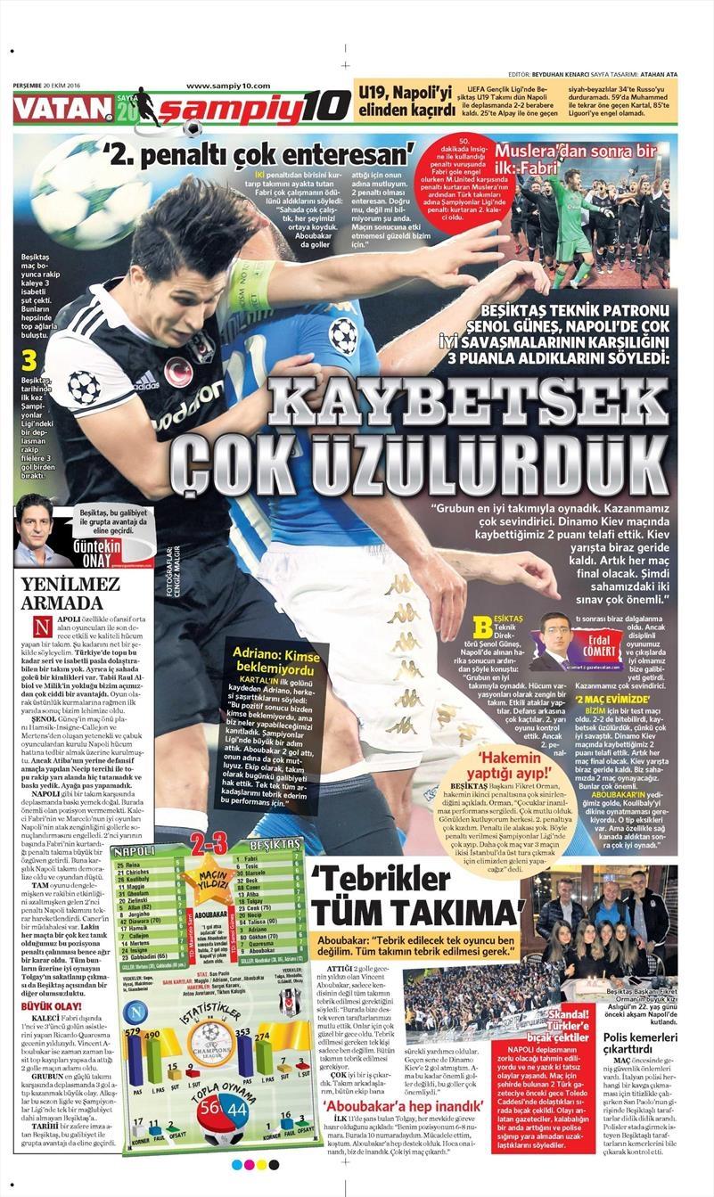 20 Ekim 016 | Gazetelerin Beşiktaş Sayfaları 30