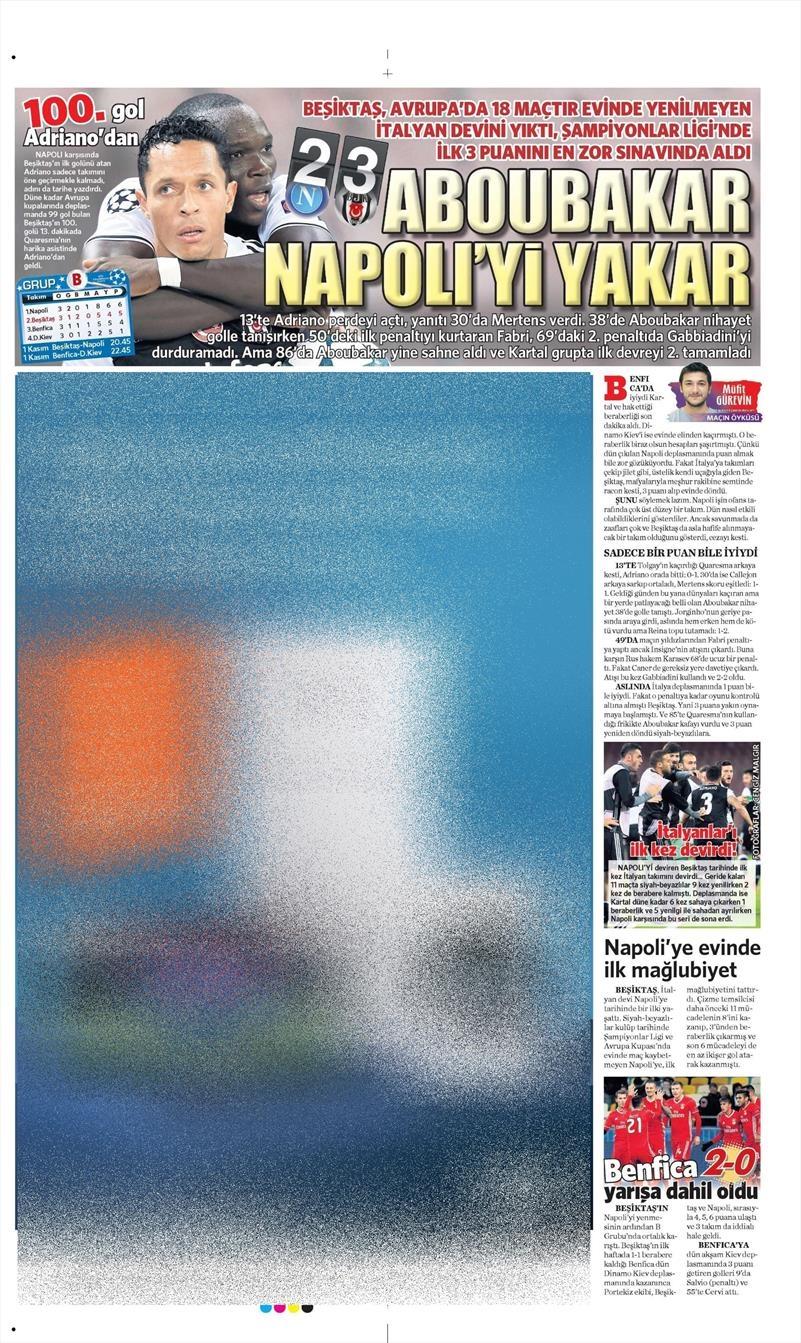 20 Ekim 016 | Gazetelerin Beşiktaş Sayfaları 31