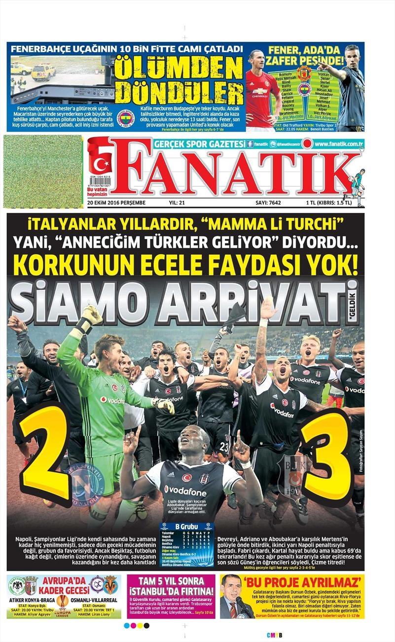 20 Ekim 016 | Gazetelerin Beşiktaş Sayfaları 4