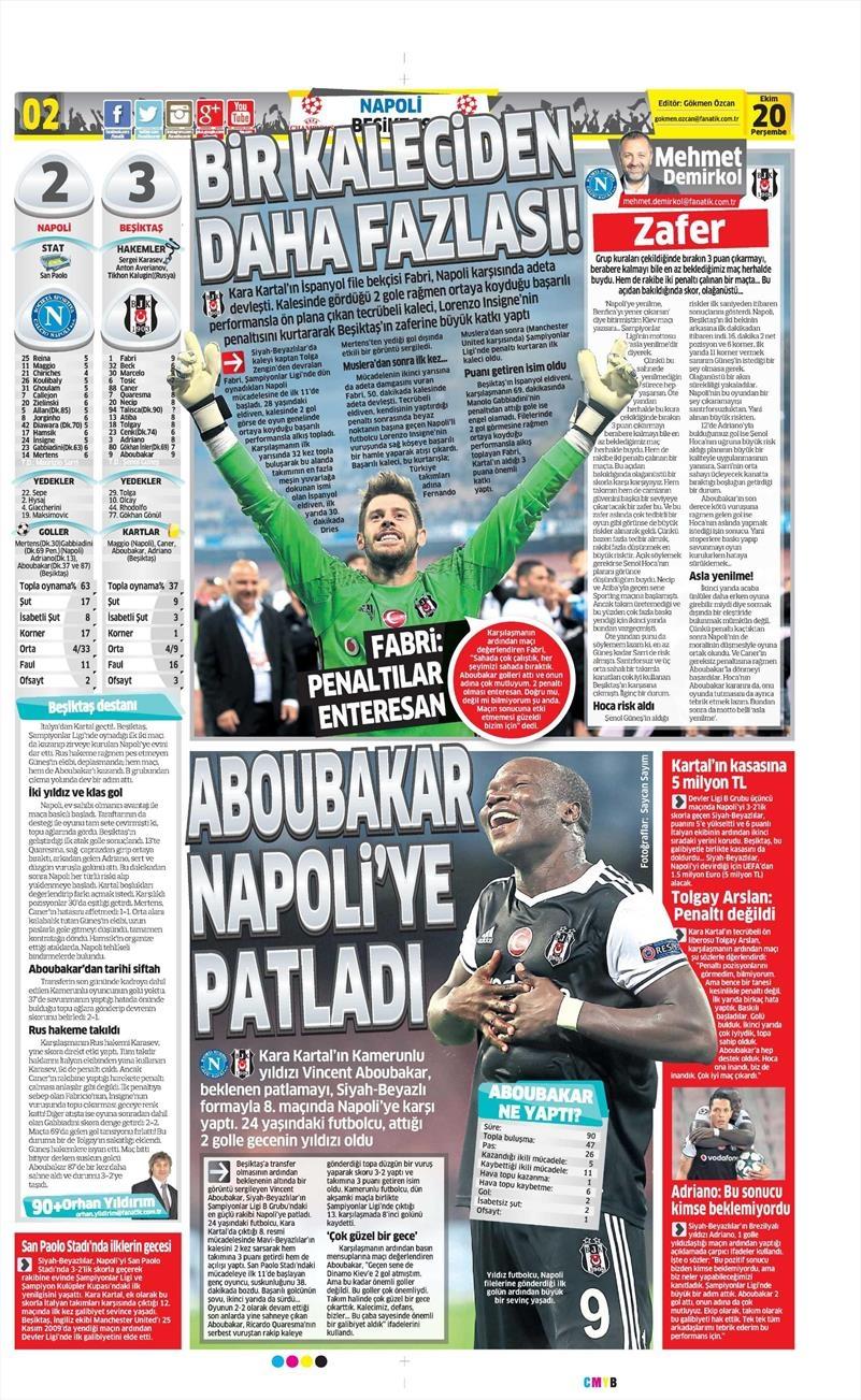 20 Ekim 016 | Gazetelerin Beşiktaş Sayfaları 5