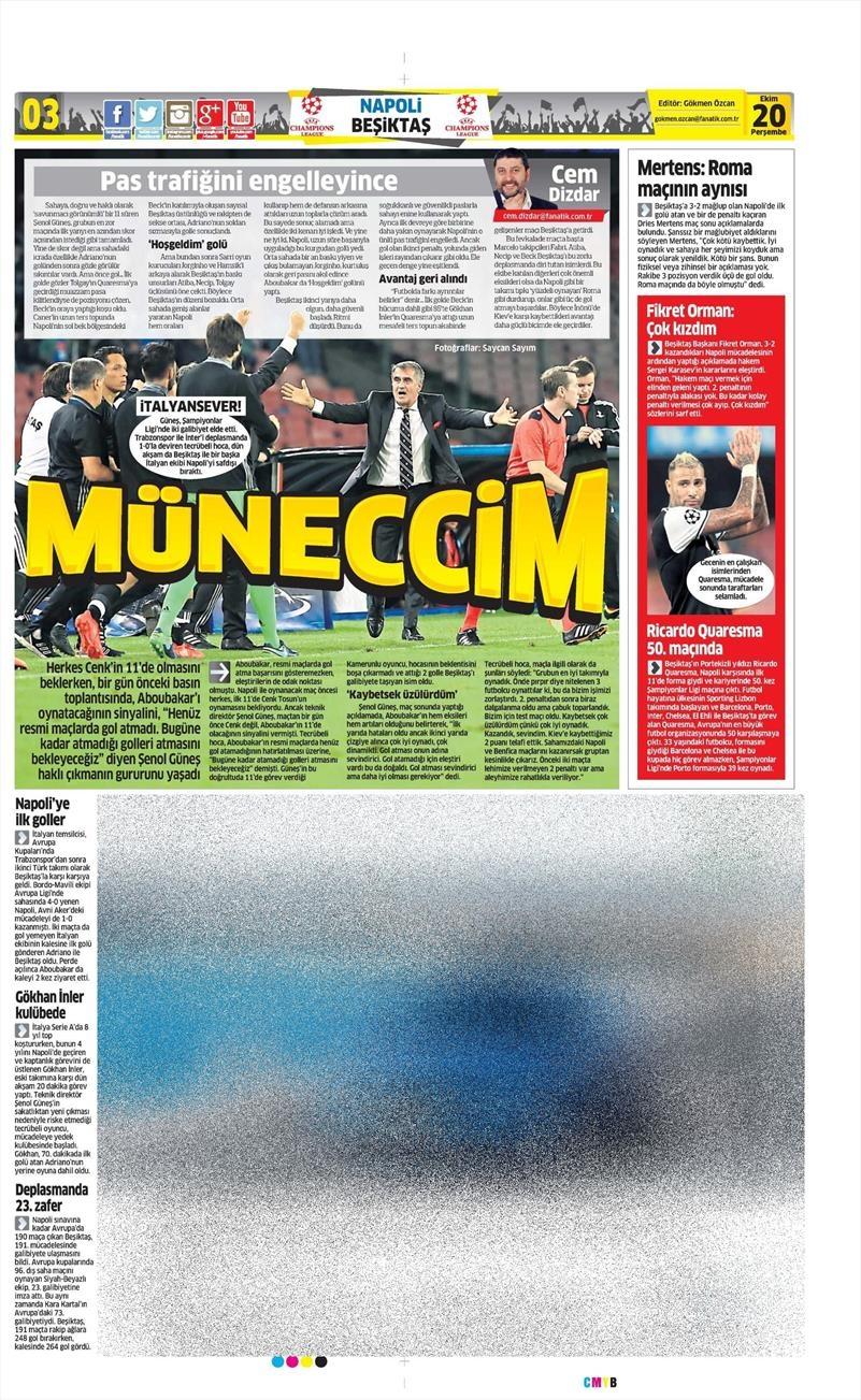 20 Ekim 016 | Gazetelerin Beşiktaş Sayfaları 6