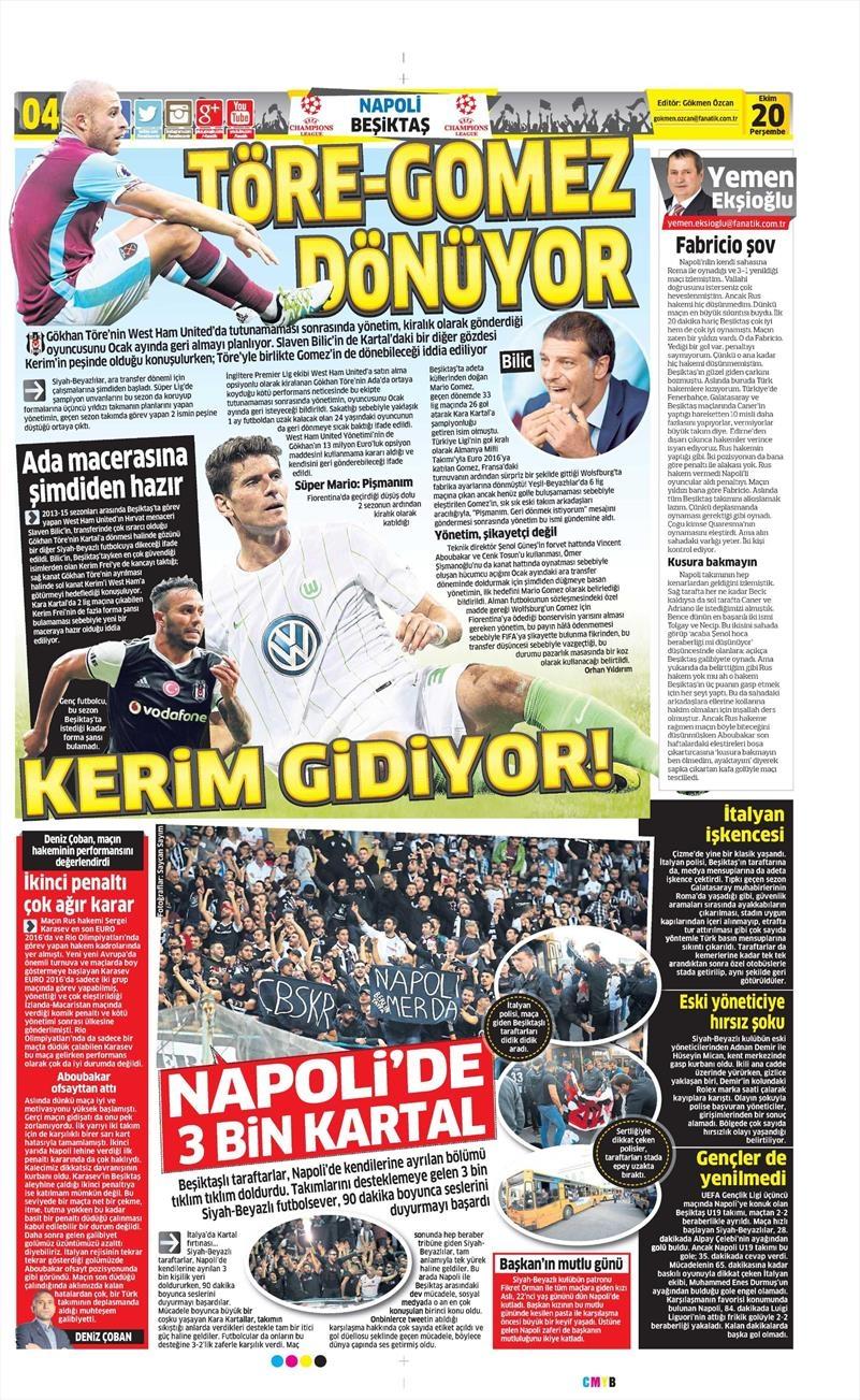 20 Ekim 016 | Gazetelerin Beşiktaş Sayfaları 7