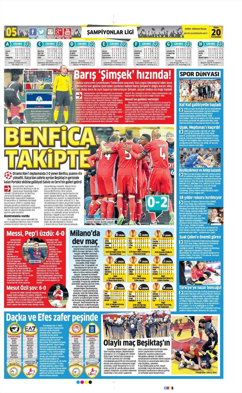 20 Ekim 016 | Gazetelerin Beşiktaş Sayfaları 8