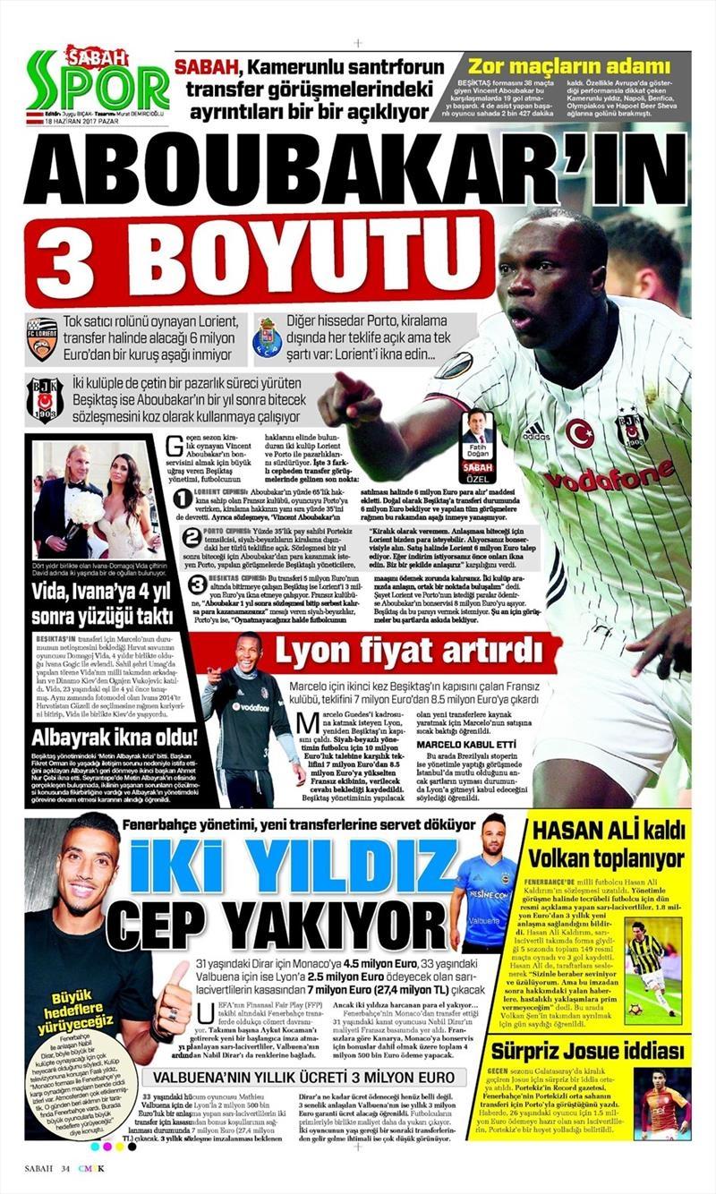 18 Haziran 2017 | İşte gazetelerin Beşiktaş manşetleri 1