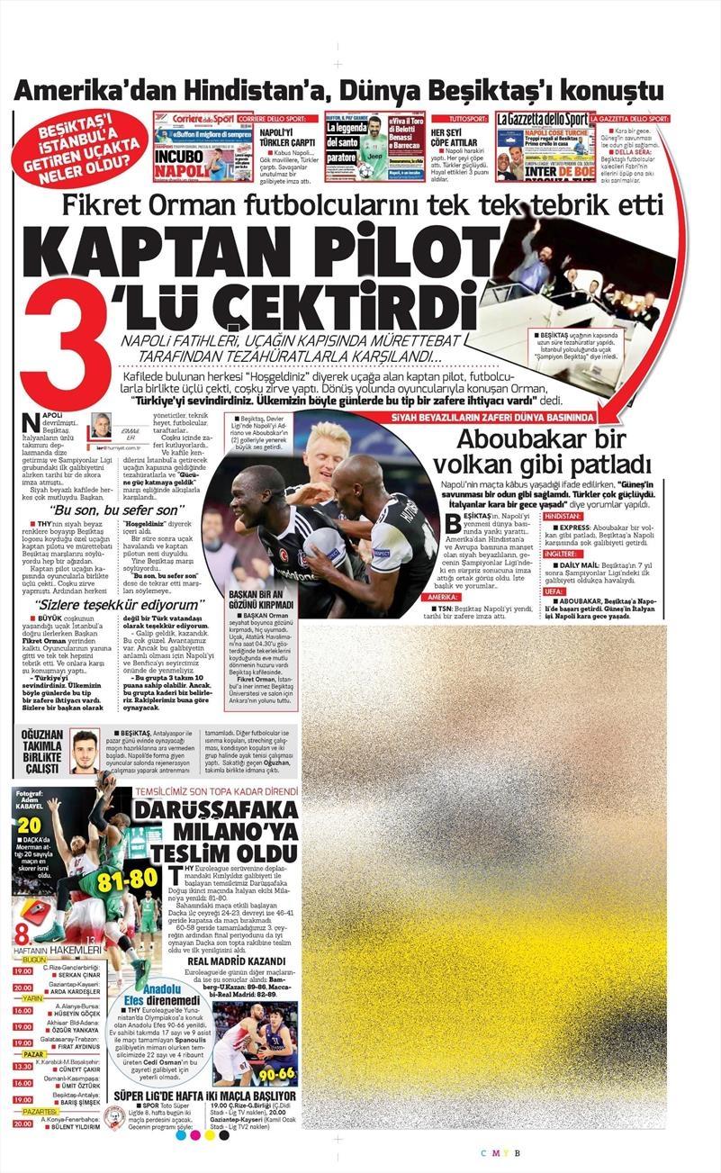 21 Ekim 2016 | Gazetelerin Beşiktaş Sayfaları 10