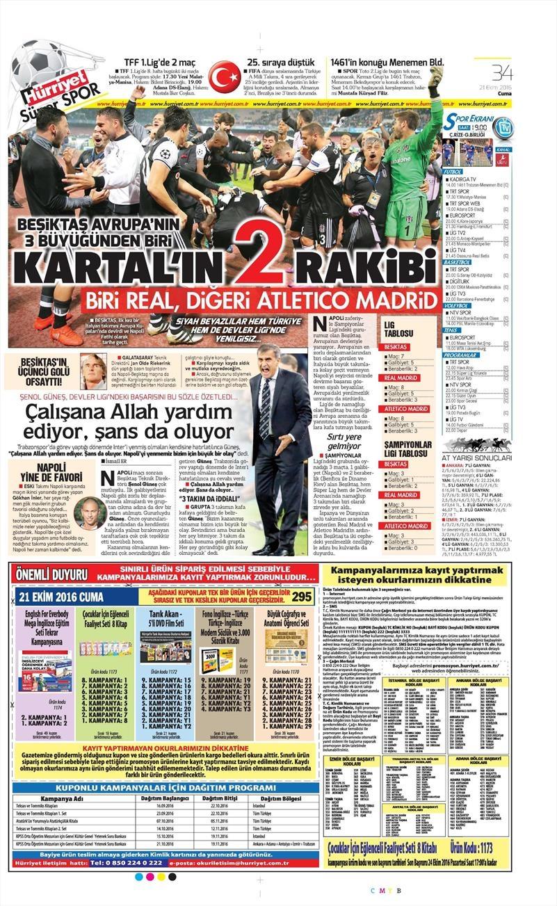 21 Ekim 2016   Gazetelerin Beşiktaş Sayfaları 11