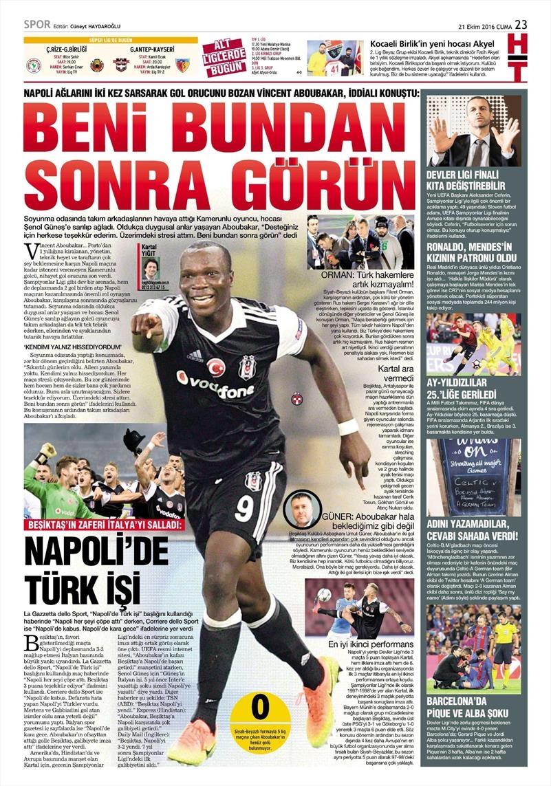 21 Ekim 2016 | Gazetelerin Beşiktaş Sayfaları 12