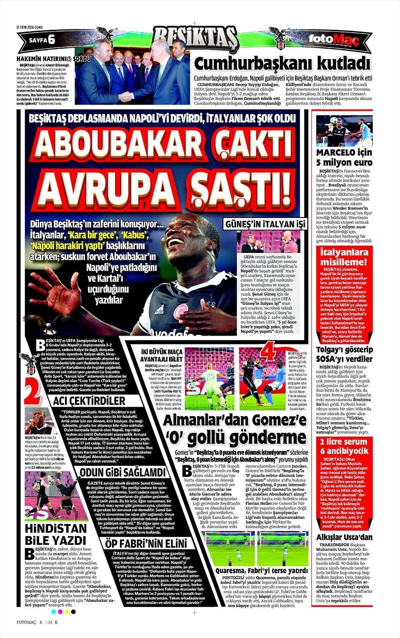 21 Ekim 2016 | Gazetelerin Beşiktaş Sayfaları 13