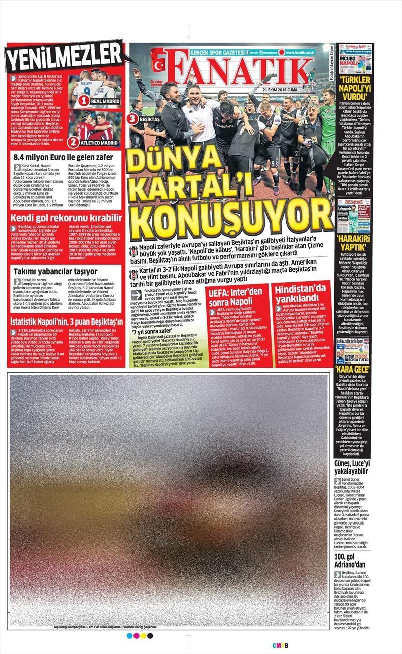 21 Ekim 2016 | Gazetelerin Beşiktaş Sayfaları 14