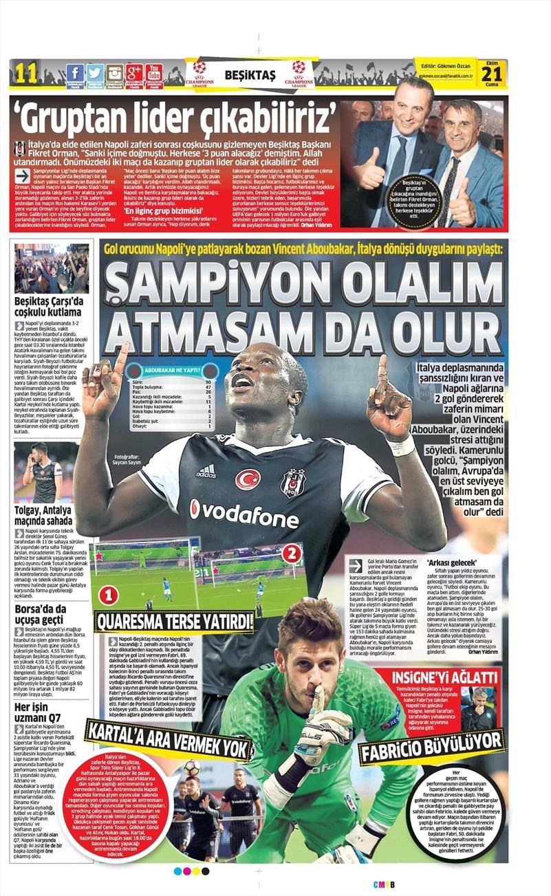 21 Ekim 2016   Gazetelerin Beşiktaş Sayfaları 15