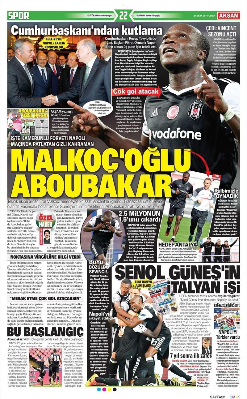 21 Ekim 2016 | Gazetelerin Beşiktaş Sayfaları 2