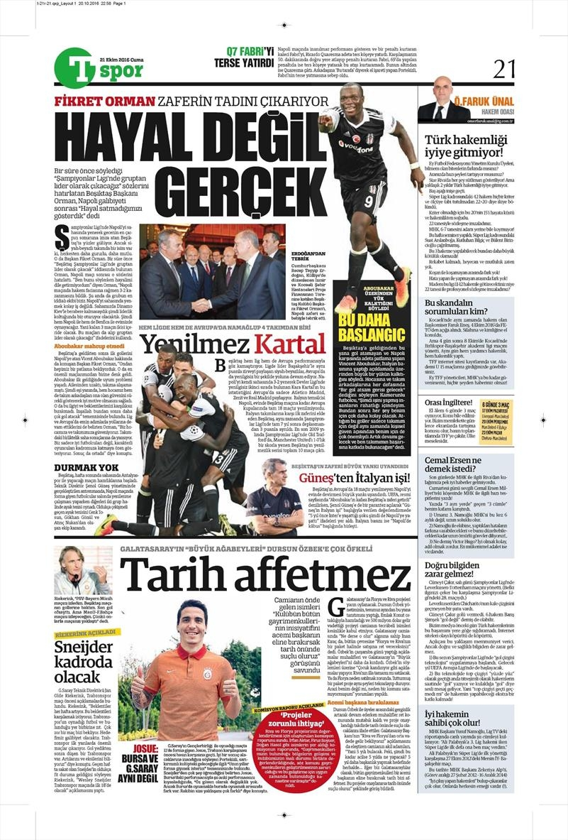 21 Ekim 2016 | Gazetelerin Beşiktaş Sayfaları 4