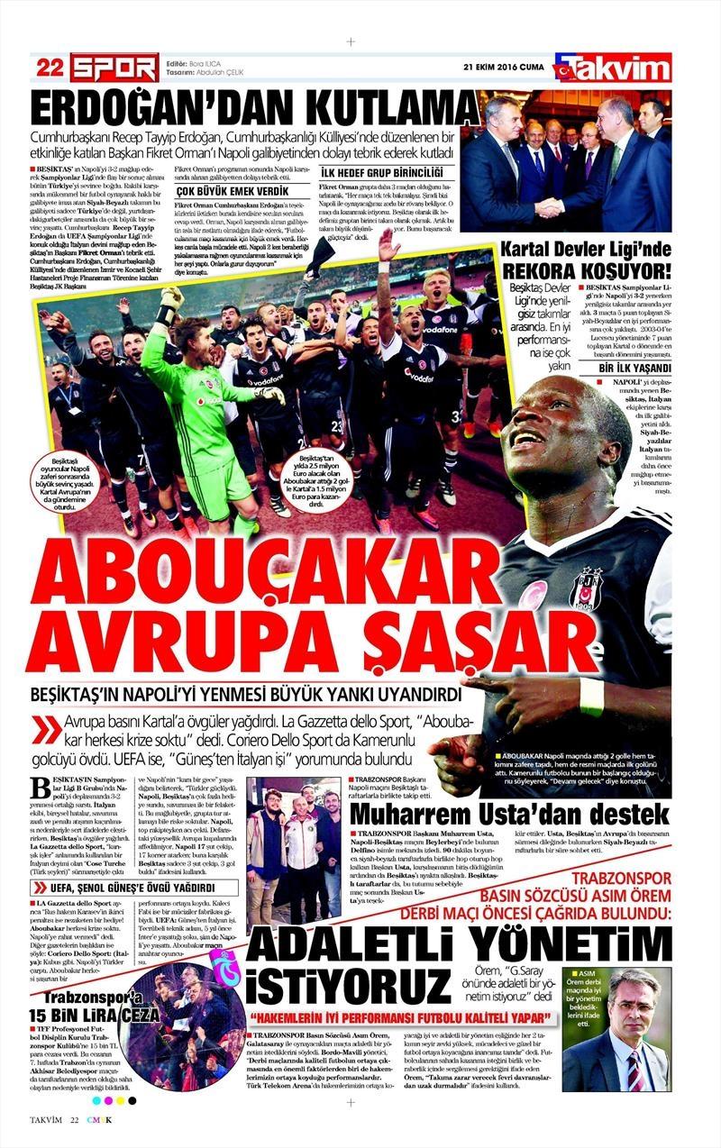 21 Ekim 2016   Gazetelerin Beşiktaş Sayfaları 5