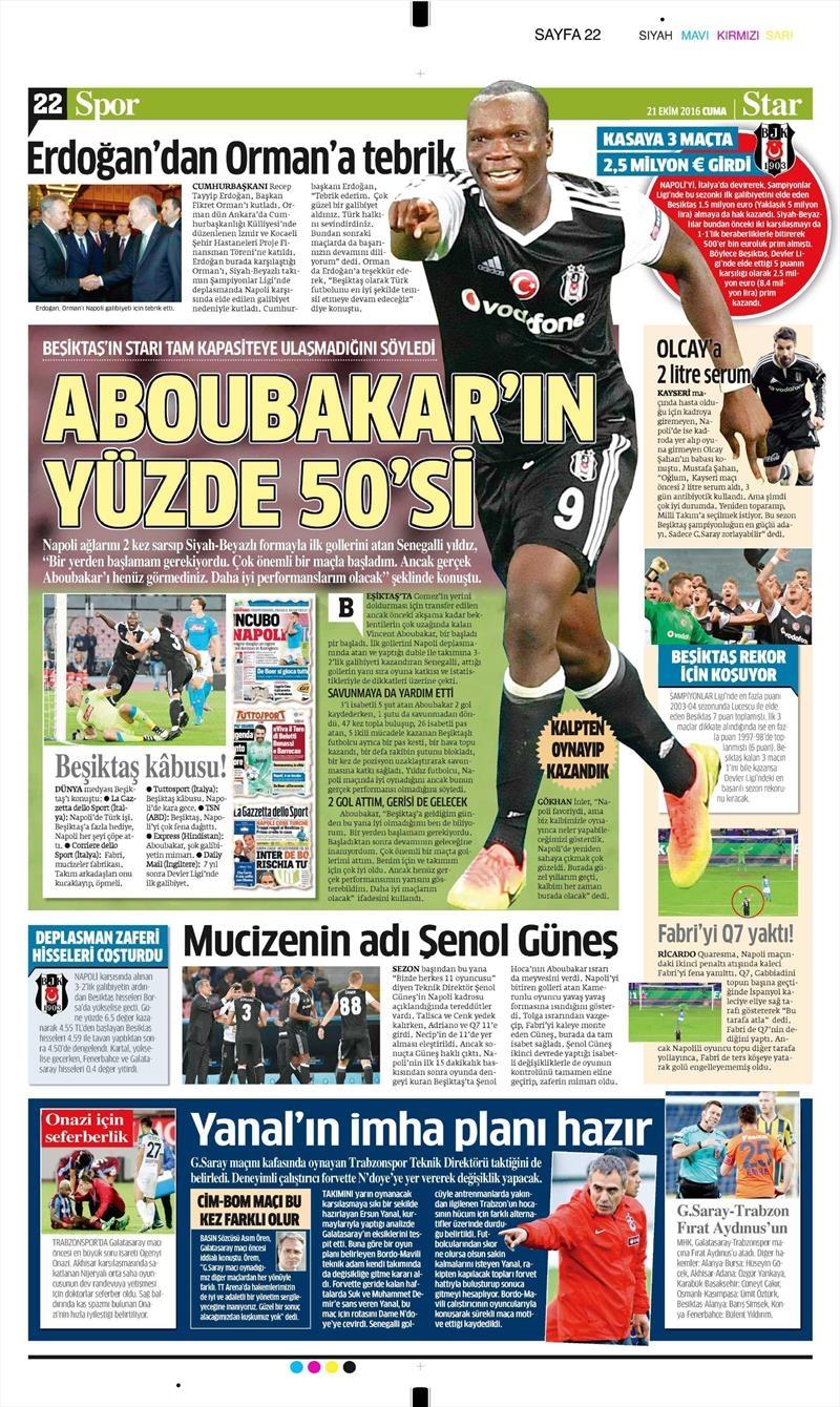 21 Ekim 2016 | Gazetelerin Beşiktaş Sayfaları 6