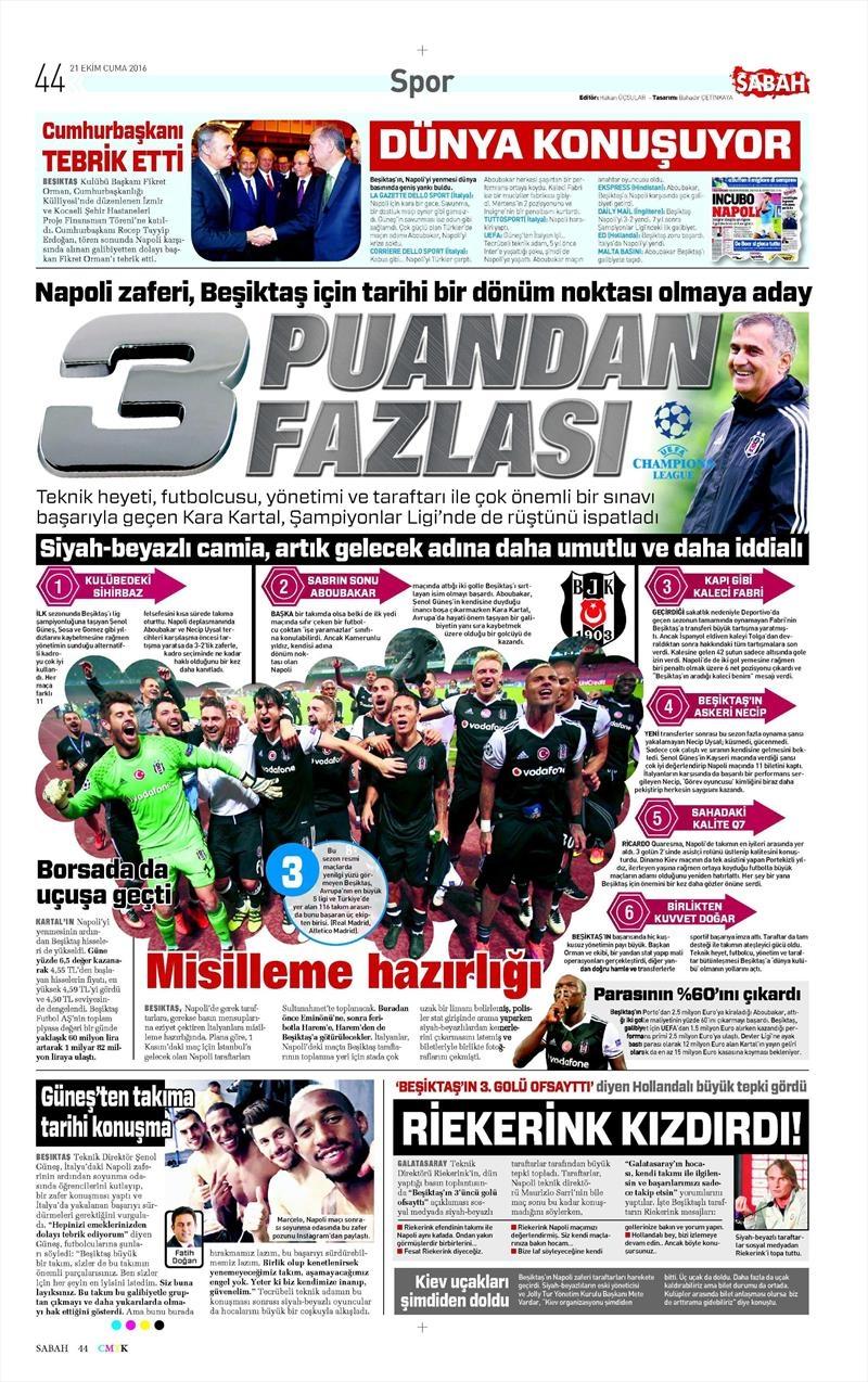 21 Ekim 2016 | Gazetelerin Beşiktaş Sayfaları 7