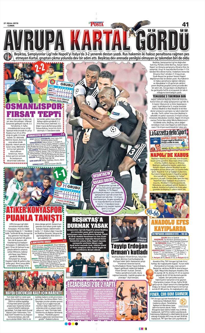 21 Ekim 2016   Gazetelerin Beşiktaş Sayfaları 8