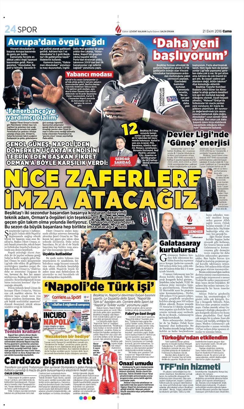 21 Ekim 2016 | Gazetelerin Beşiktaş Sayfaları 9