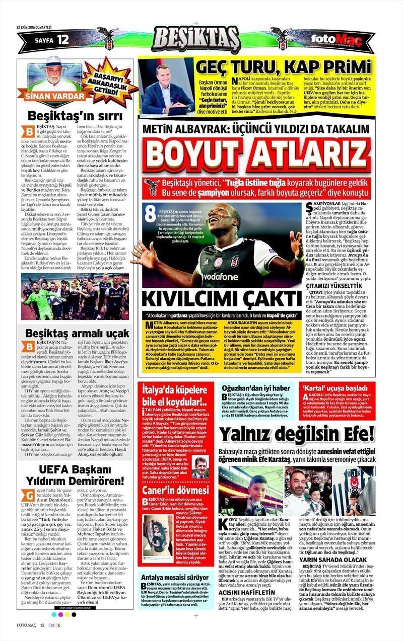 22 Ekim 2016 | Gazetelerin Beşiktaş manşetleri 12