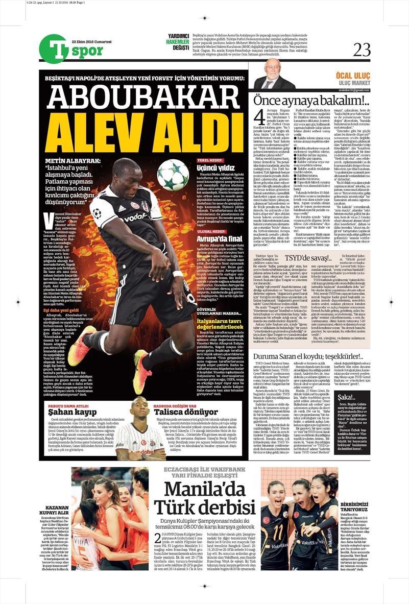 22 Ekim 2016 | Gazetelerin Beşiktaş manşetleri 2