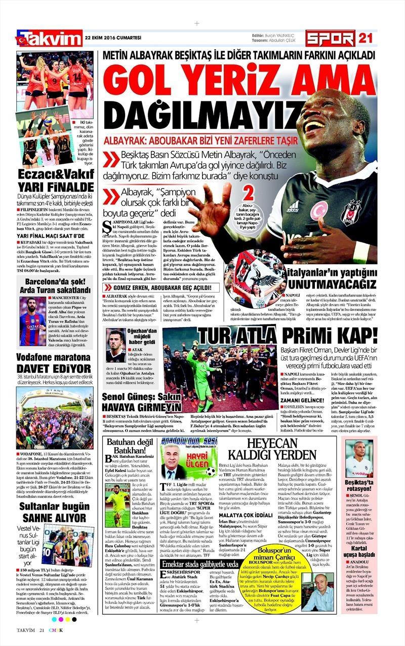 22 Ekim 2016   Gazetelerin Beşiktaş manşetleri 3