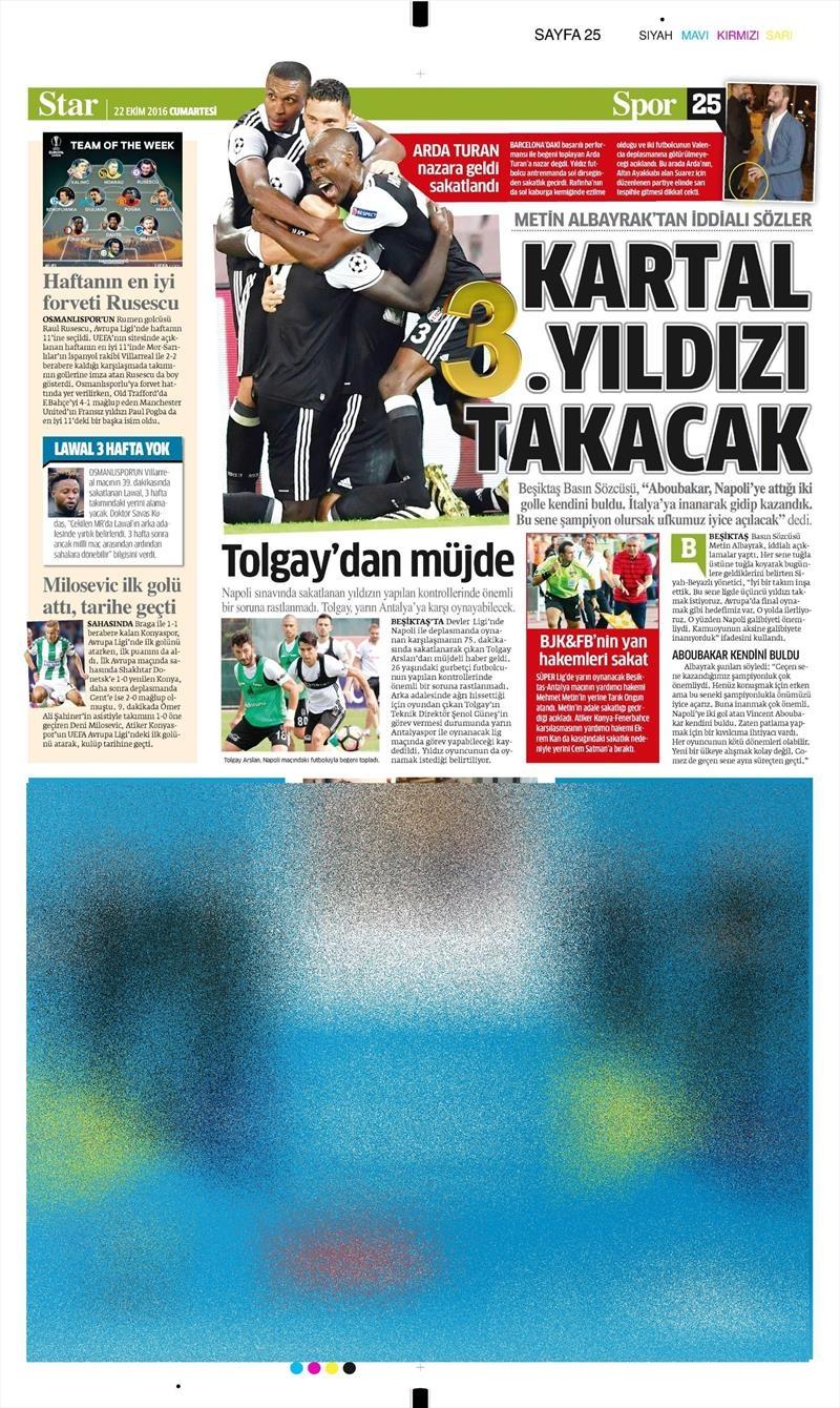 22 Ekim 2016 | Gazetelerin Beşiktaş manşetleri 4