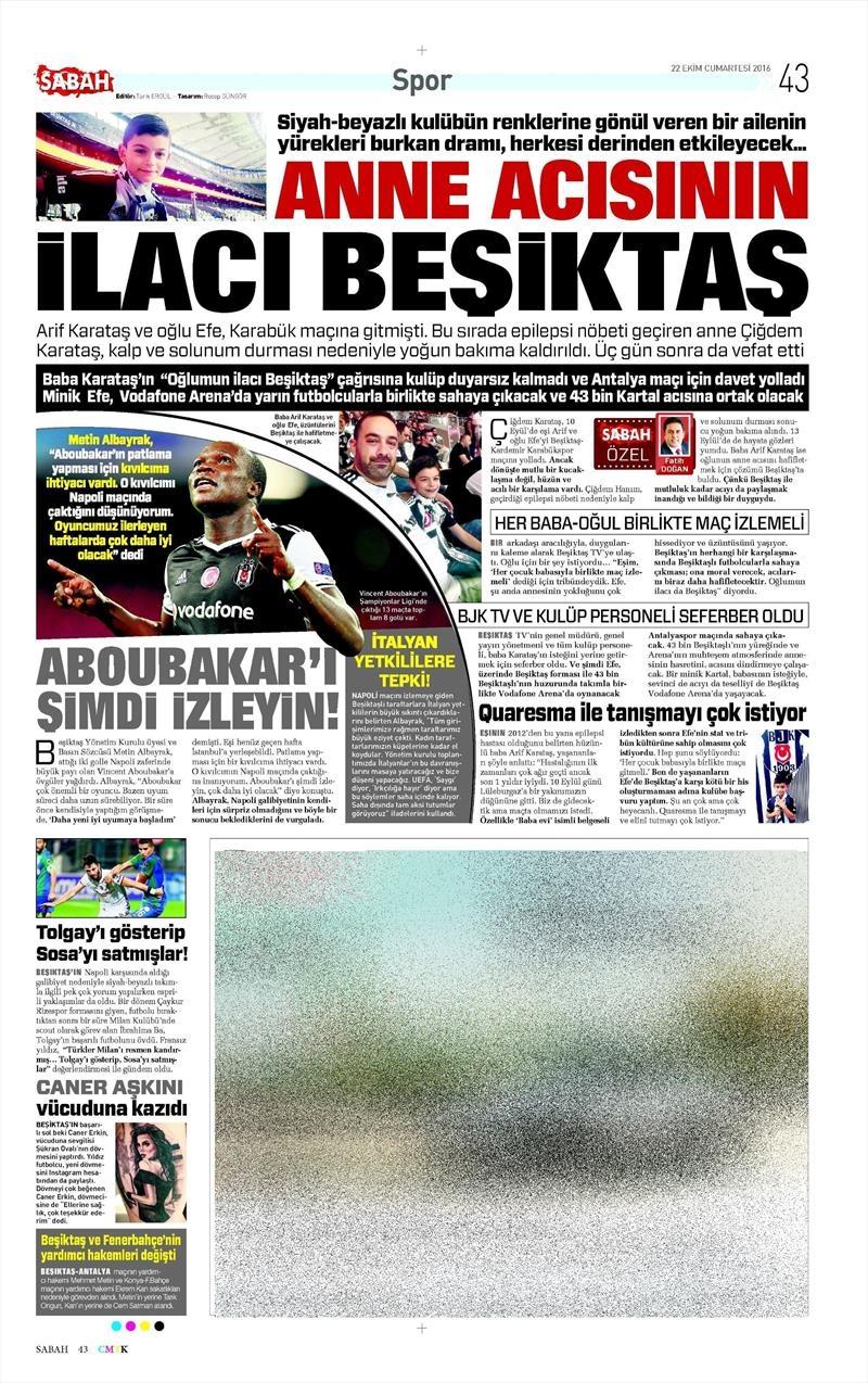 22 Ekim 2016 | Gazetelerin Beşiktaş manşetleri 5