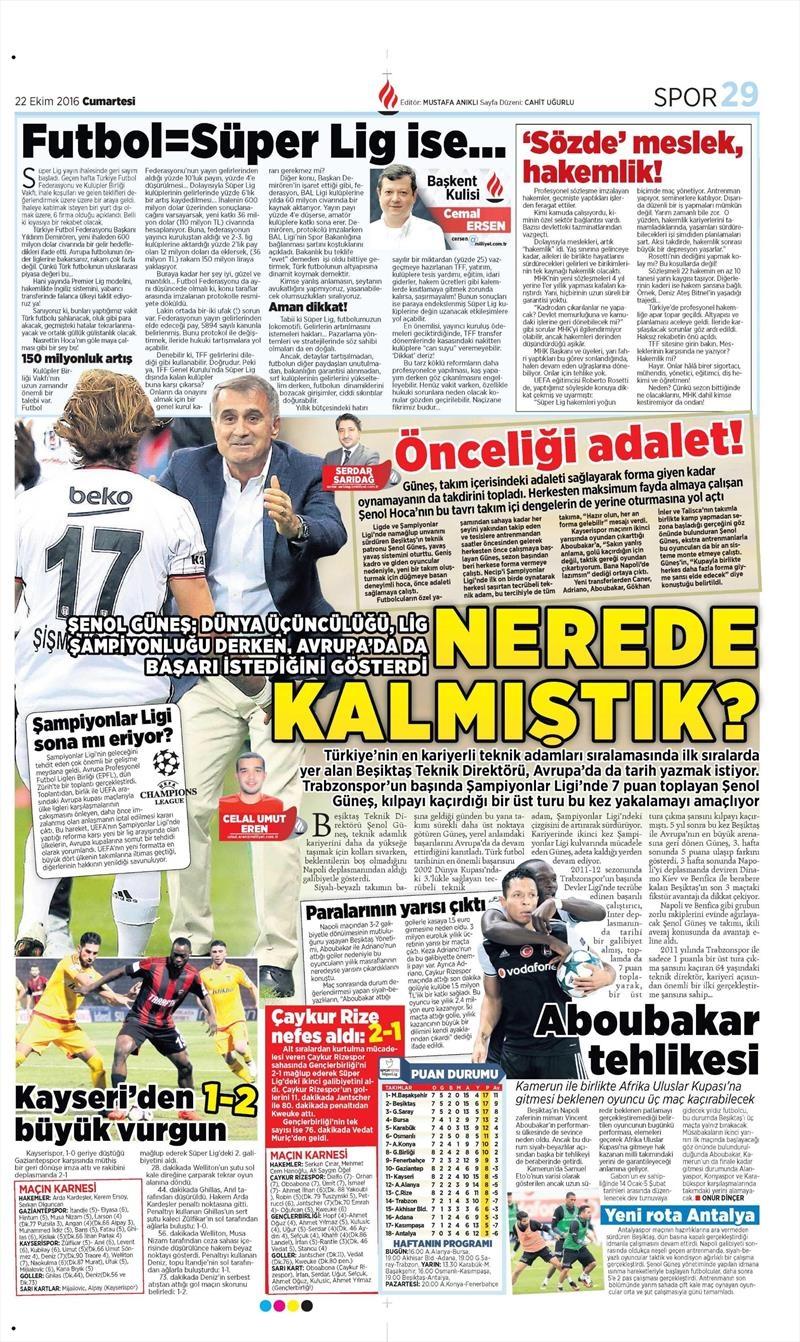 22 Ekim 2016 | Gazetelerin Beşiktaş manşetleri 8