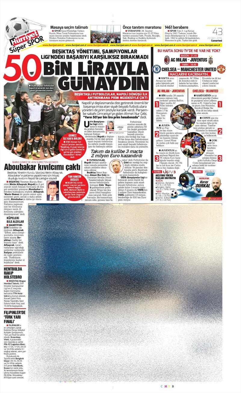 22 Ekim 2016 | Gazetelerin Beşiktaş manşetleri 9