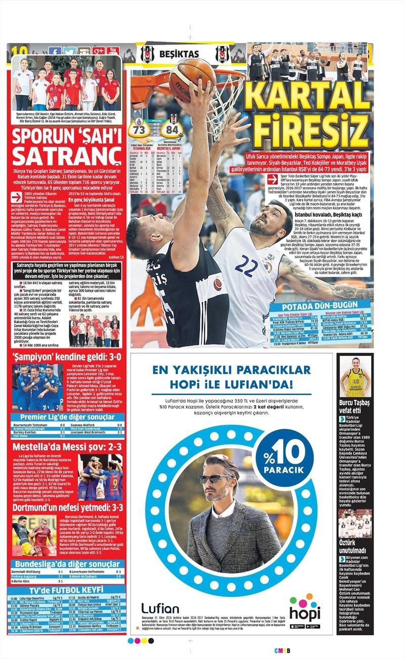 23 Ekim 2016 | Gazetelerin Beşiktaş Sayfaları 1