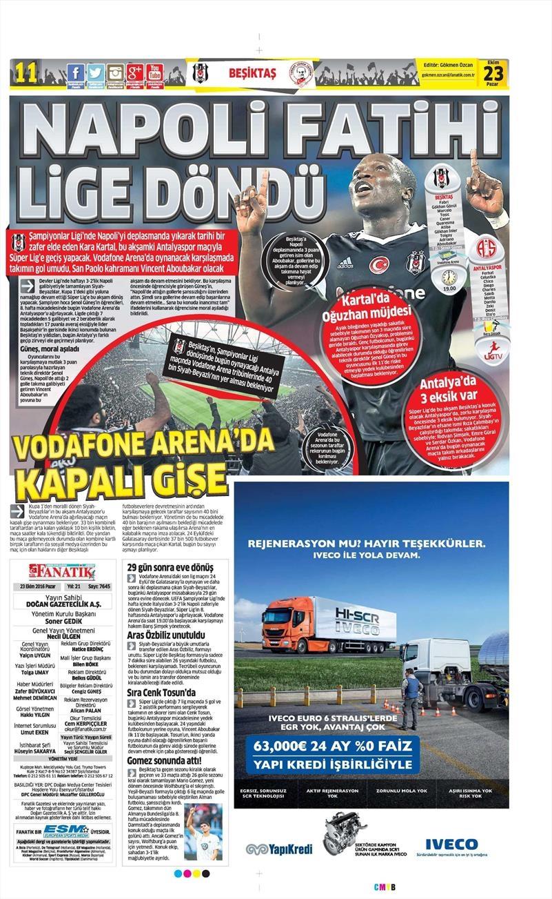 23 Ekim 2016 | Gazetelerin Beşiktaş Sayfaları 2