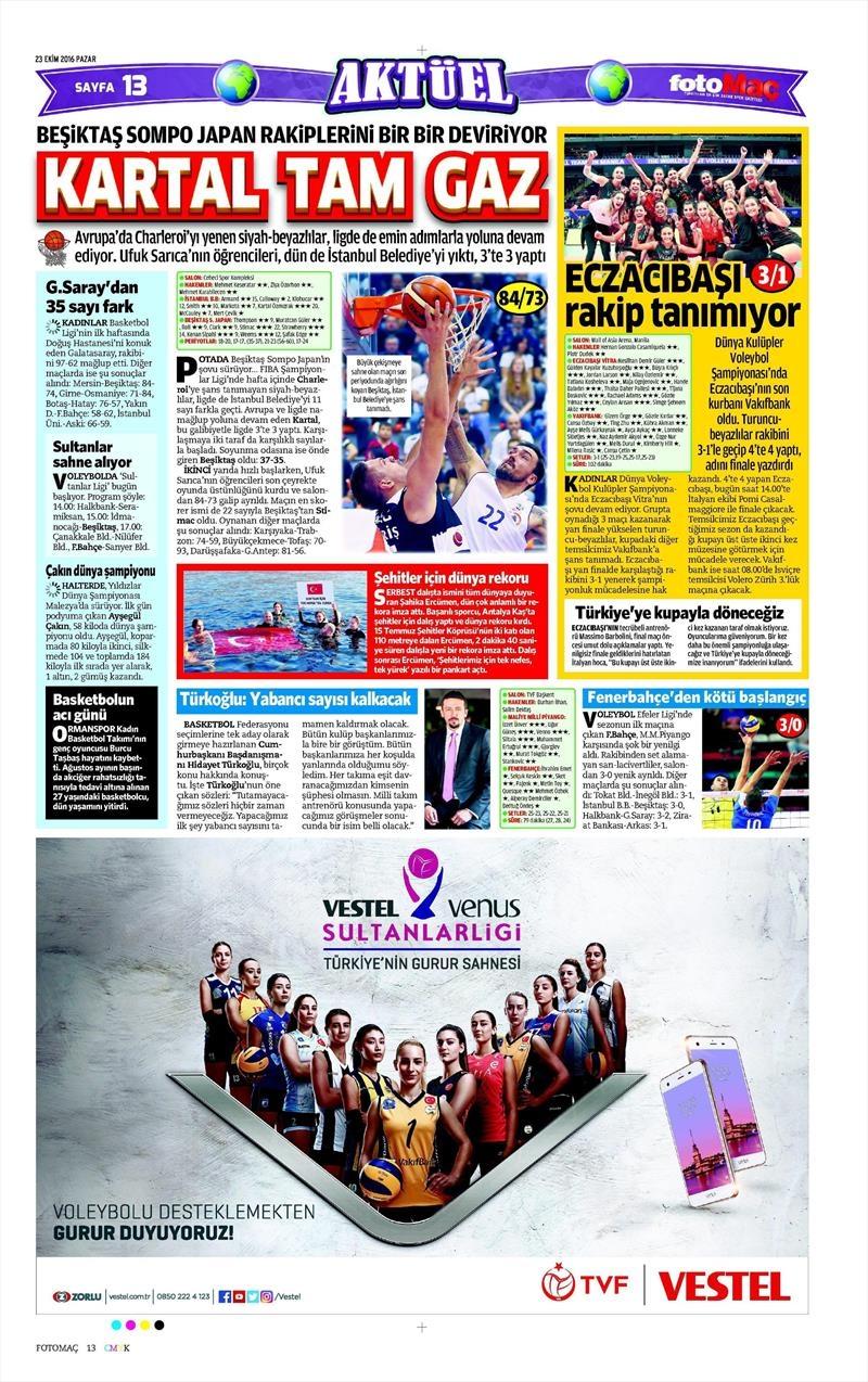 23 Ekim 2016 | Gazetelerin Beşiktaş Sayfaları 3