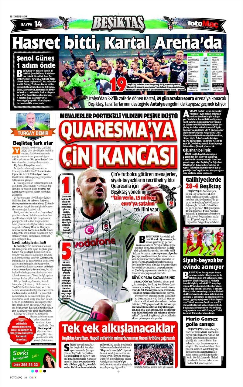 23 Ekim 2016 | Gazetelerin Beşiktaş Sayfaları 4
