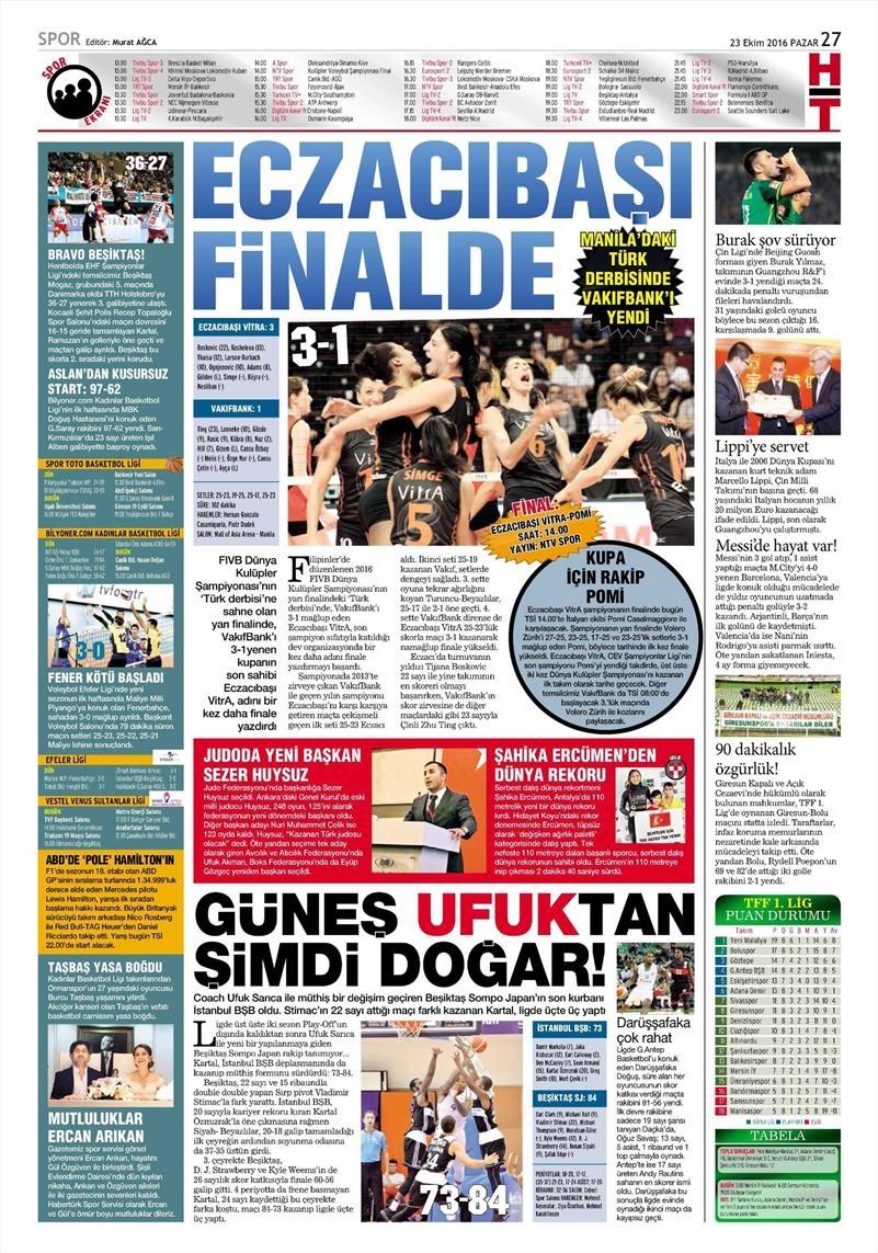 23 Ekim 2016 | Gazetelerin Beşiktaş Sayfaları 5
