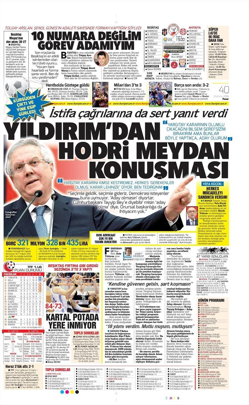 23 Ekim 2016 | Gazetelerin Beşiktaş Sayfaları 6