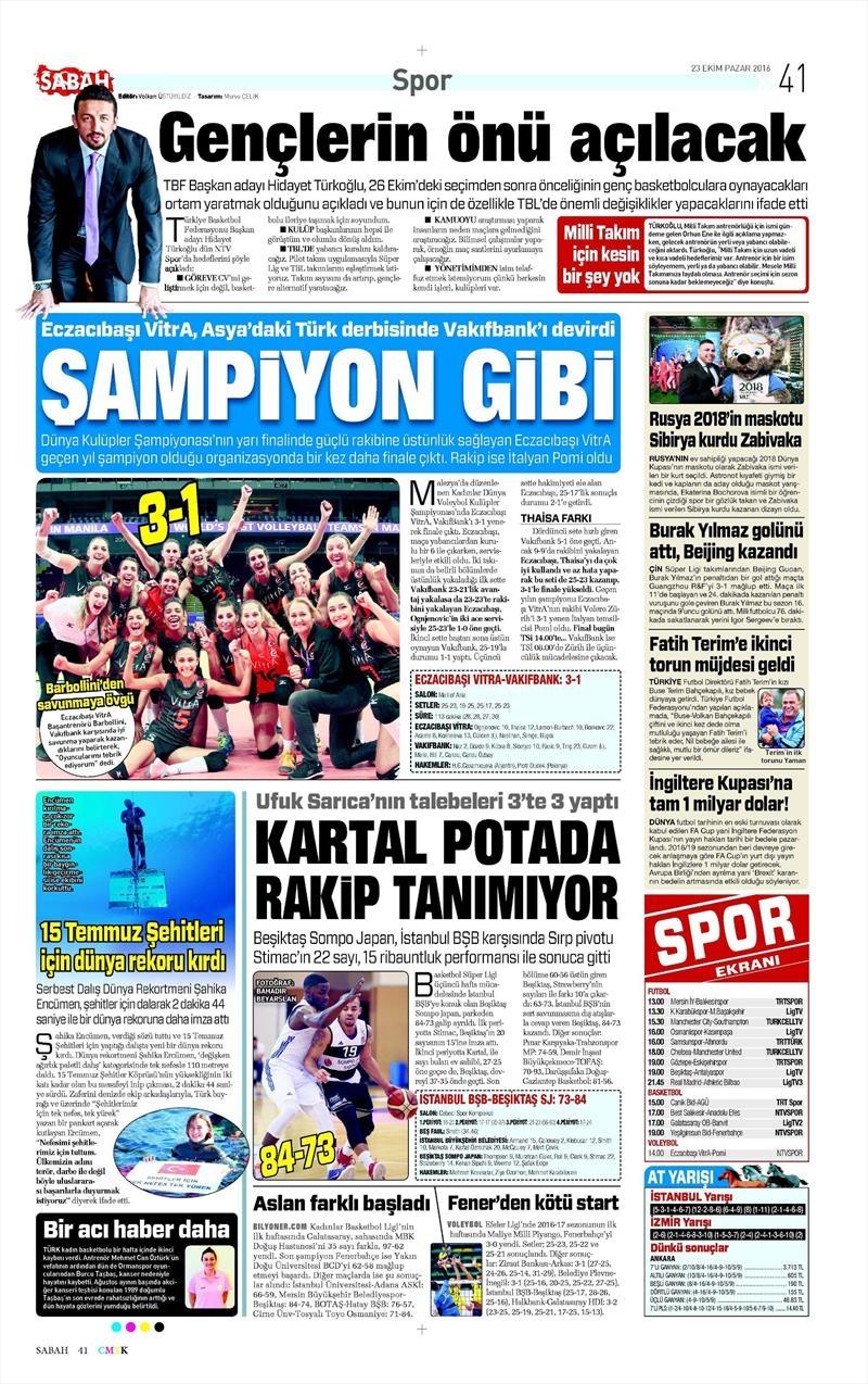 23 Ekim 2016 | Gazetelerin Beşiktaş Sayfaları 7