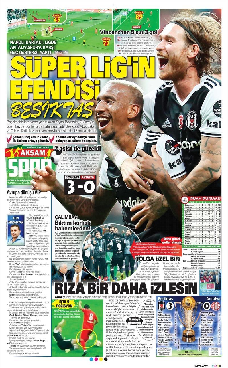 24 Ekim 2016 | Gazetelerin Beşiktaş sayfaları 1
