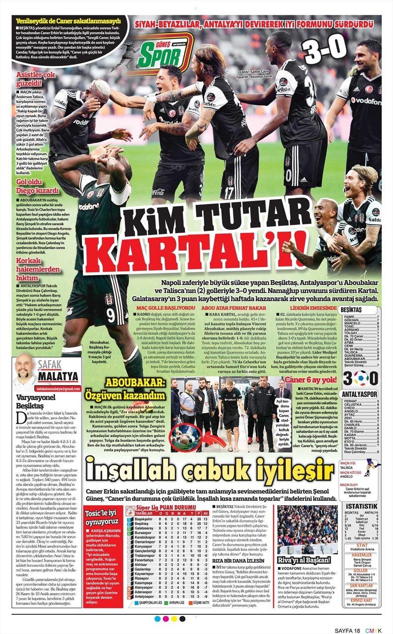 24 Ekim 2016 | Gazetelerin Beşiktaş sayfaları 11