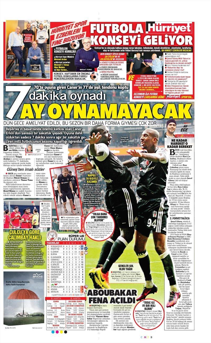 24 Ekim 2016 | Gazetelerin Beşiktaş sayfaları 16
