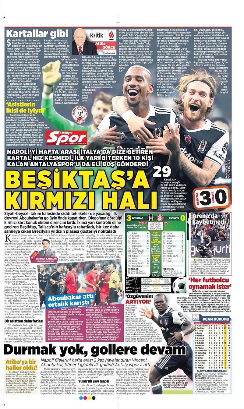 24 Ekim 2016 | Gazetelerin Beşiktaş sayfaları 17