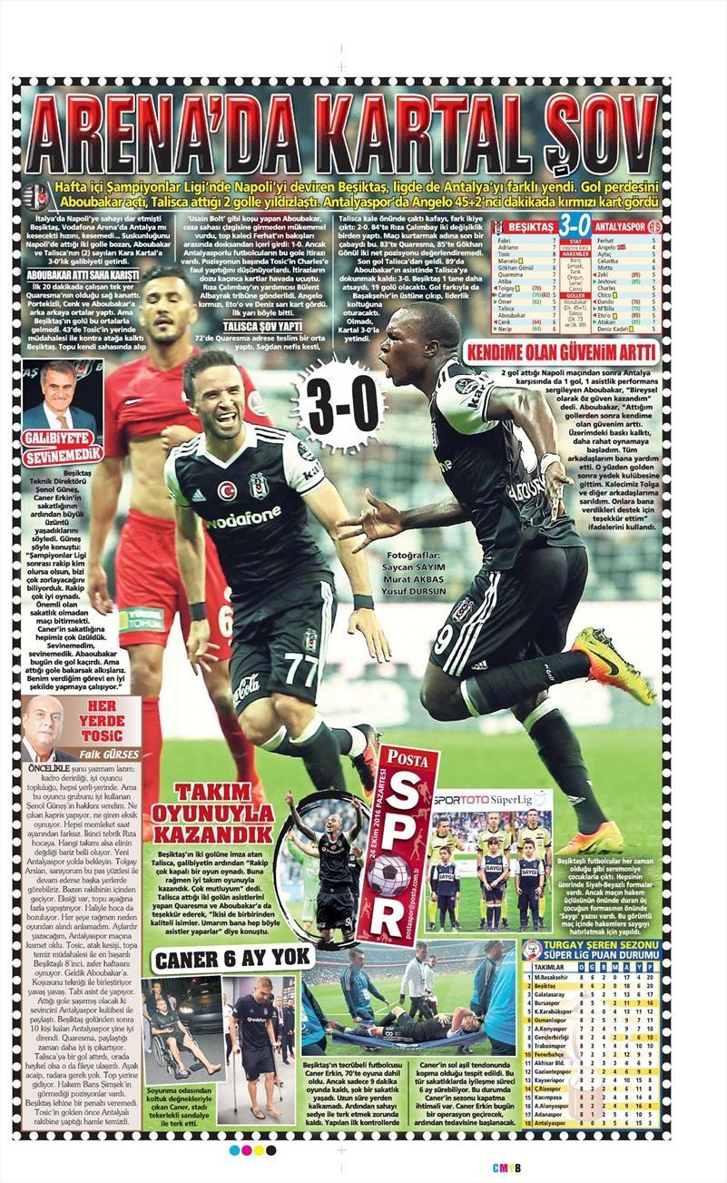 24 Ekim 2016 | Gazetelerin Beşiktaş sayfaları 19
