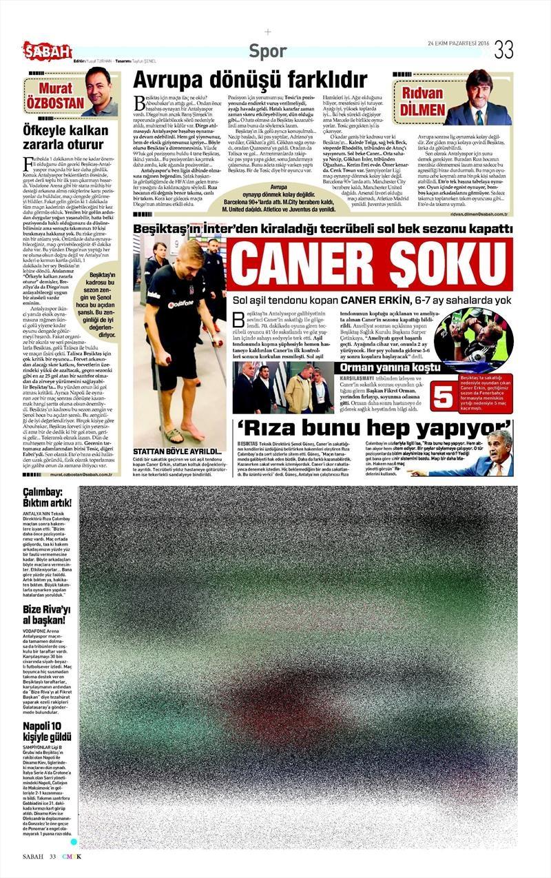 24 Ekim 2016 | Gazetelerin Beşiktaş sayfaları 21