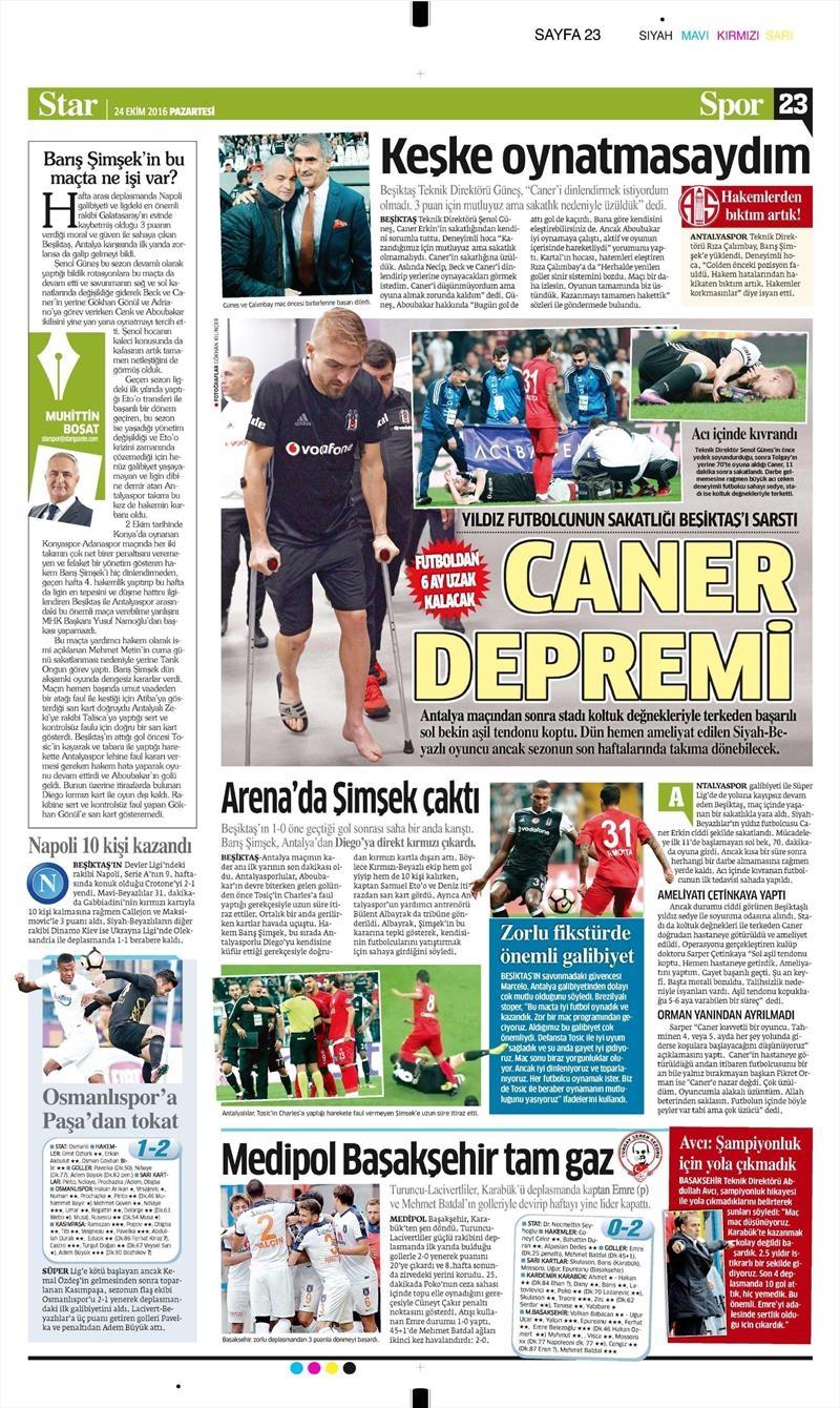 24 Ekim 2016 | Gazetelerin Beşiktaş sayfaları 23