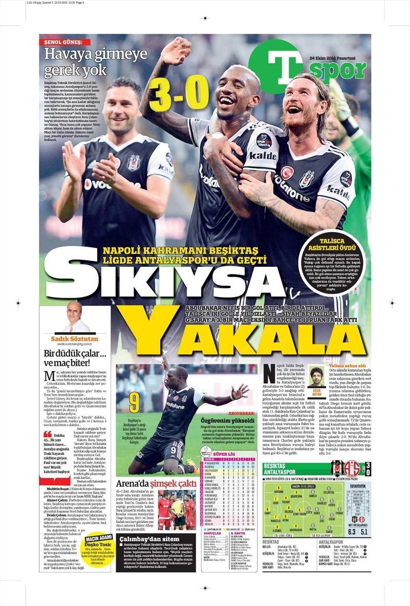 24 Ekim 2016 | Gazetelerin Beşiktaş sayfaları 26