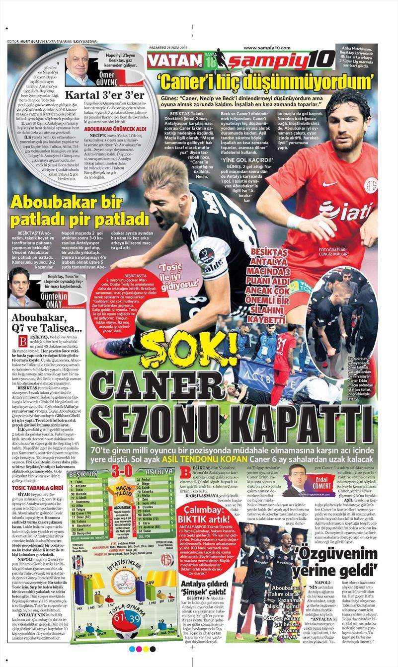 24 Ekim 2016   Gazetelerin Beşiktaş sayfaları 28