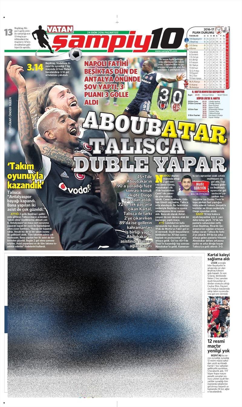 24 Ekim 2016 | Gazetelerin Beşiktaş sayfaları 29