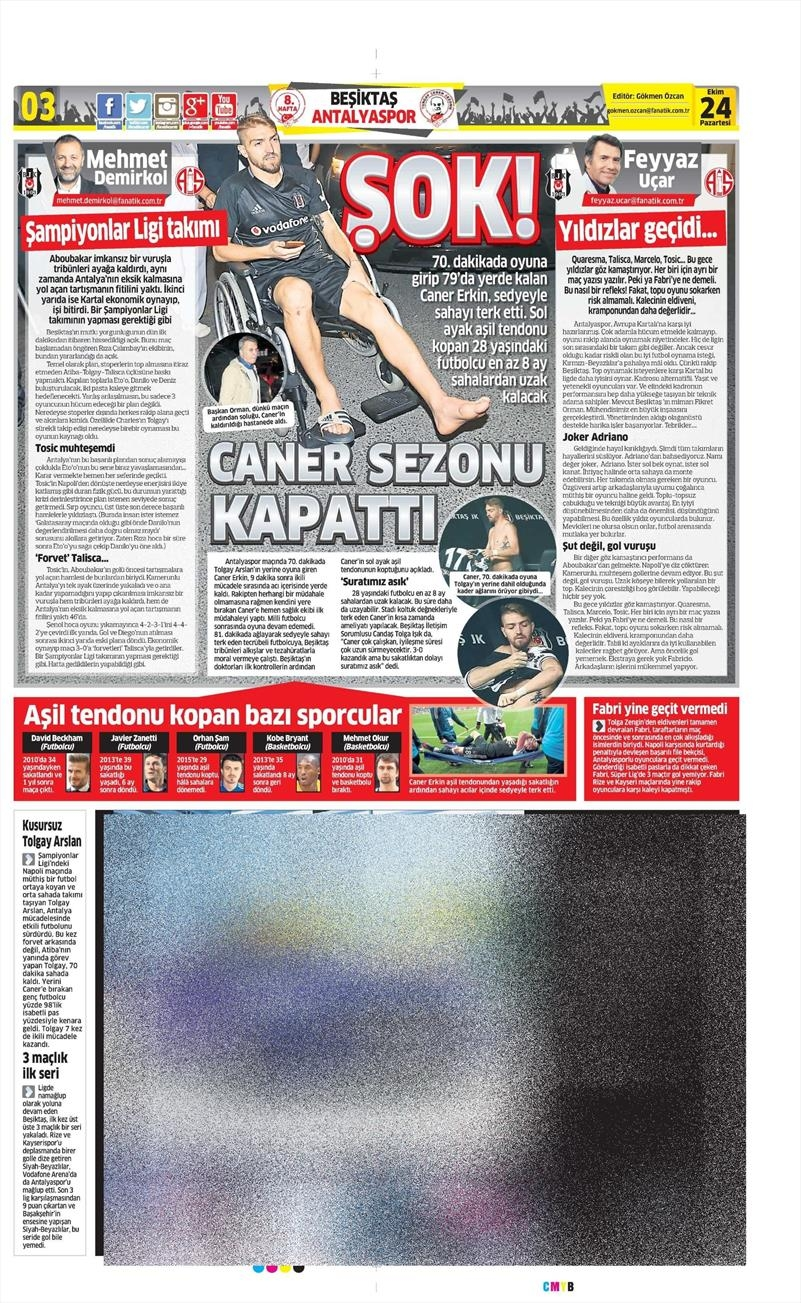 24 Ekim 2016 | Gazetelerin Beşiktaş sayfaları 5