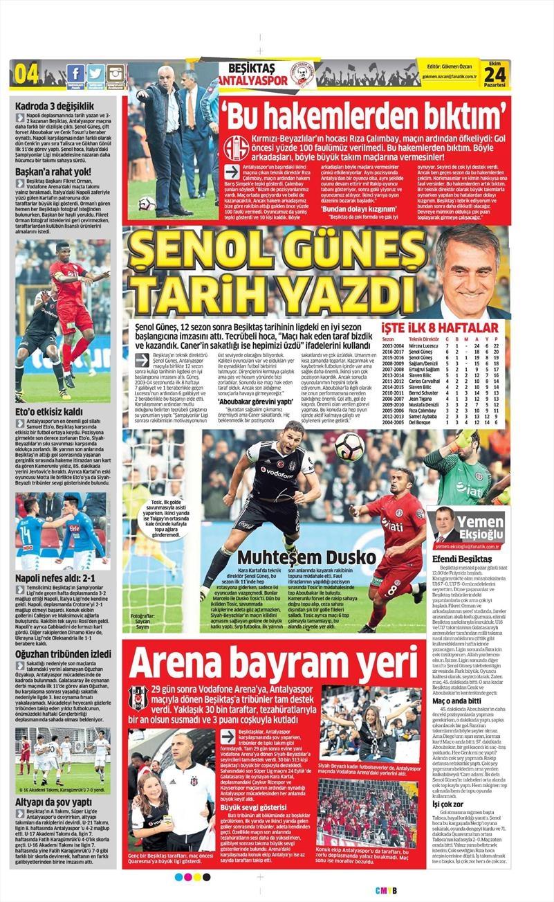 24 Ekim 2016 | Gazetelerin Beşiktaş sayfaları 6