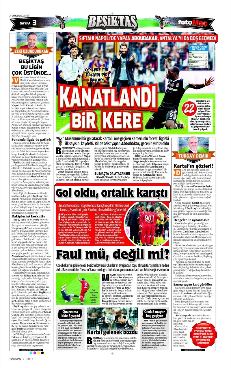 24 Ekim 2016 | Gazetelerin Beşiktaş sayfaları 9