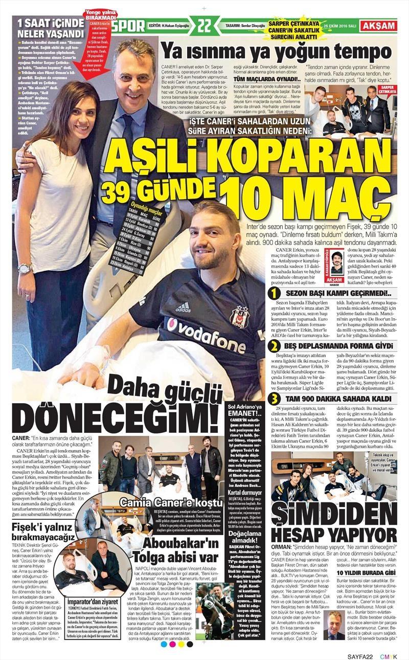 25 Ekim 2016 | Gazetelerin Beşiktaş sayfaları 1